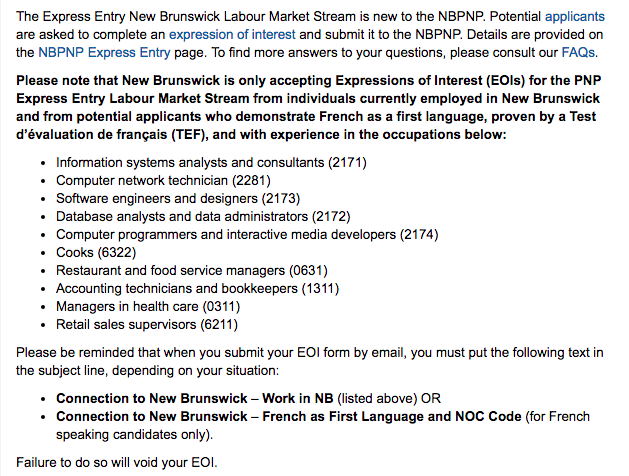 Express Entry New Brunswick Labour Market Stream - French flyabroad